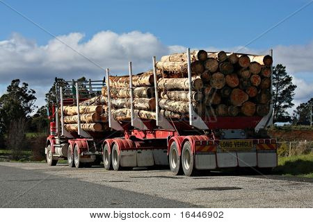 Long logging truck in Tasmania