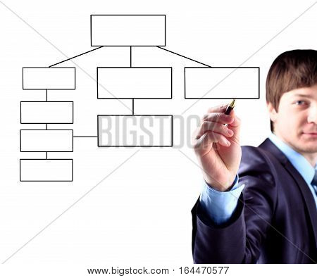 businessman draws a scheme of business development .the photo has a empty space for your text