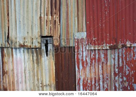 Interesting Background of old corrugated wall