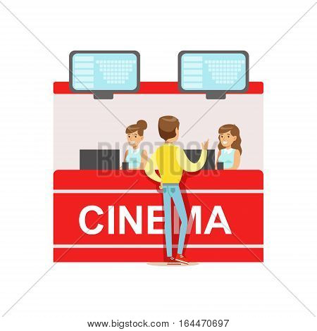 Guy Buying Cinema Tickets Whom Cashiers Counter, Part Of Happy People In Movie Theatre Series. Vector Illustration With Cartoon Characters Indoors At The Movies