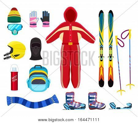 Skiing winter sports equipment set isolated vector illustration. Thermal underwear, protective gear, skis, boots, helmet, gloves, scarf, goggles, thermos, backpack. Skiing equipment in flat design