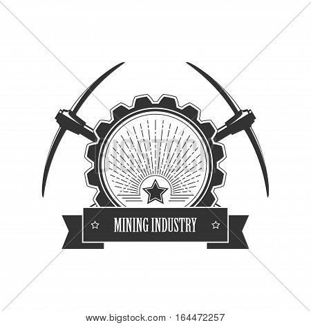 Vintage emblem of the mining industry ,label and badge mining