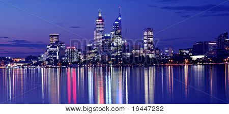 Perth Skyline from Swan River by Night