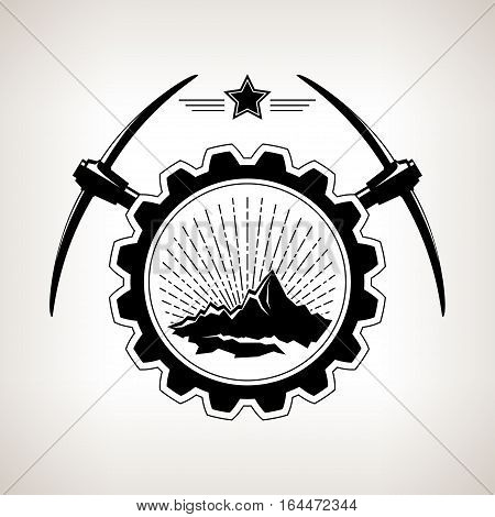 Silhouette of the mountains and sunburst in badge, vintage emblem of the mining industry, label and badge mine shaft mining, black and white illustration
