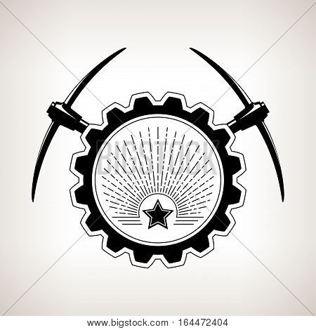 Vintage emblem of the mining industry, label and badge mining, black and white illustration