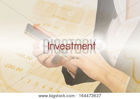 Investment text and Double exposure of Business woman and finance report background. Invest concept.