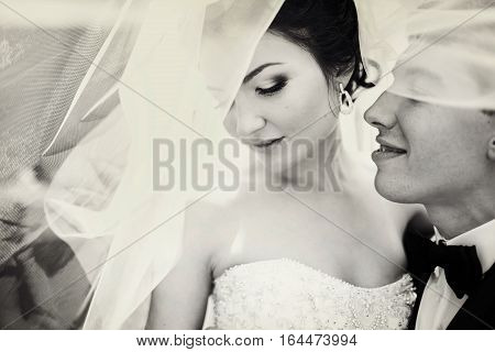 Bride Looks Down Standing With A Groom Under Veil