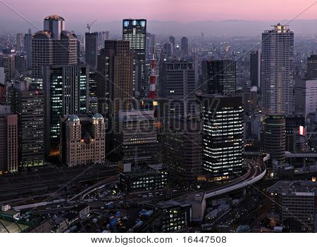 Osaka skyline at sunset - view from Umeda Sky Building