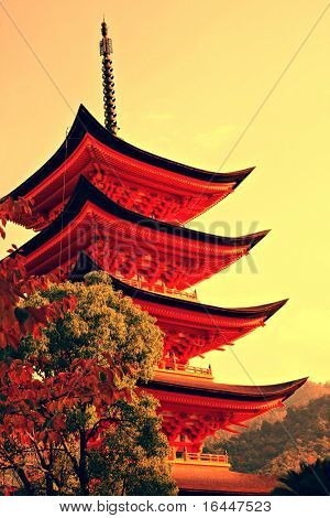 Five-storey pagoda in Miyajima, Japan