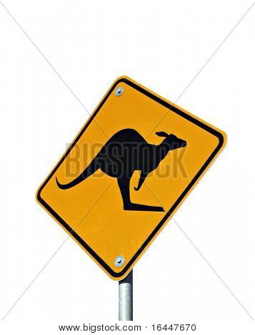 Kangaroo Road Sign isolated on white