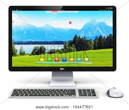 3D render illustration of modern professional desktop computer PC workstation with screen or monitor display with nature landscape, keyboard and mouse isolated on white background