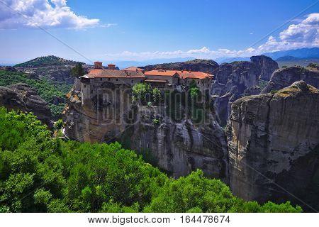 Greek orthodox monastery Meteora built on steep cliffs in Greece.