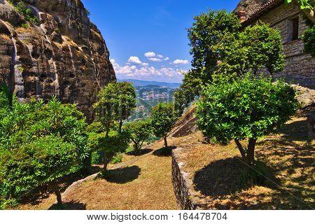 Beautiful gardens around Meteora monastery in Greece.