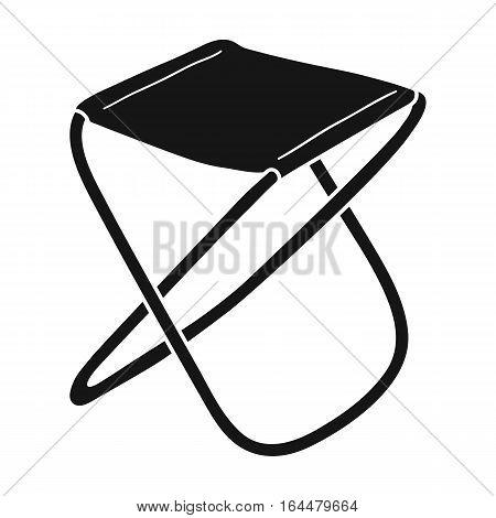 Folding stool icon in black design isolated on white background. Fishing symbol stock vector illustration.