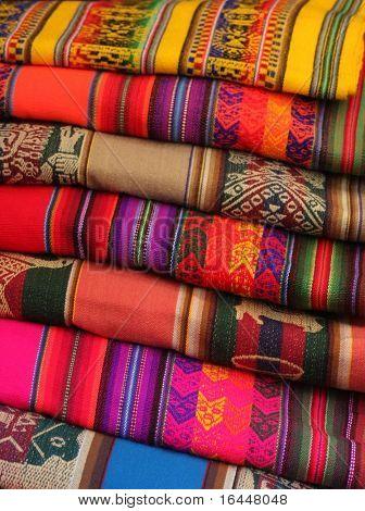 Colorful Fabric at Pisac market in Peru