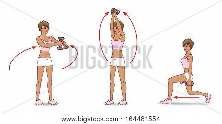 A girl with short hair wearing shorts and t-shirt doing exercises with dumbbells: waving her arms and lunges forward on a white background