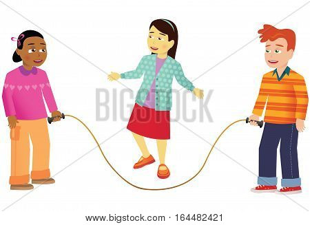An illustration of some school children playing with a skipping rope.