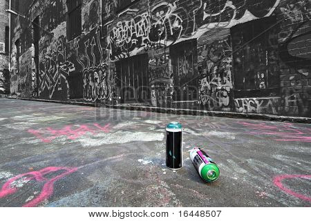 Spray cans in a Graffiti Alley in Melbourne, Australia