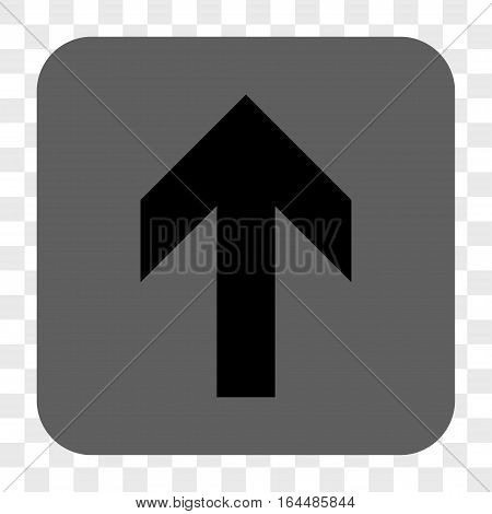 Arrow Up interface toolbar button. Vector icon style is a flat symbol on a rounded square button black and gray colors chess transparent background.