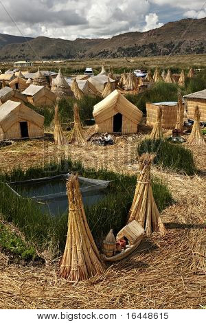 Uros floating island on Lake Titicaca, Peru