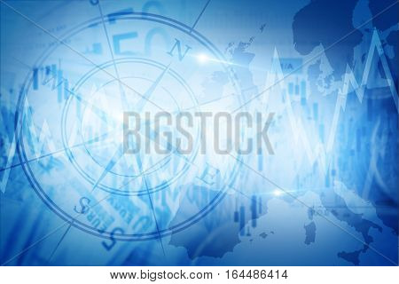 Global Economy Blue Concept Background with compass.