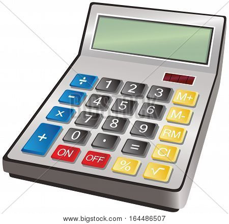 An image of a modern electronic calculator. Blank screen for your own message.