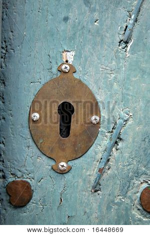 Old keyhole at a church in Peru