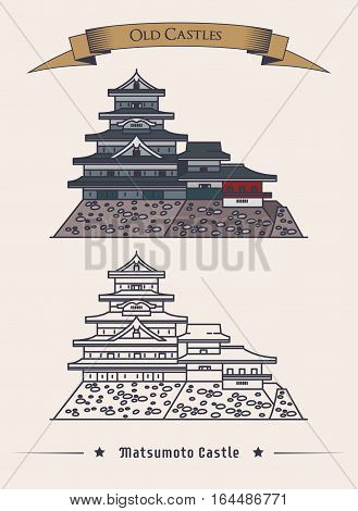 Japanese matsumoto flatland castle. Hirashiro palace building exterior view, architecture of medieval stronghold, old construction logo. National treasure of Japan banner and historical theme