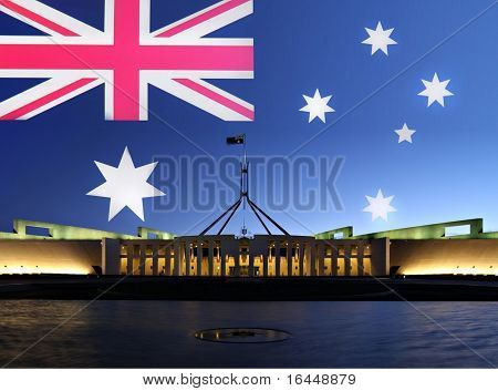 Australia's Parliament House in Canberra by night