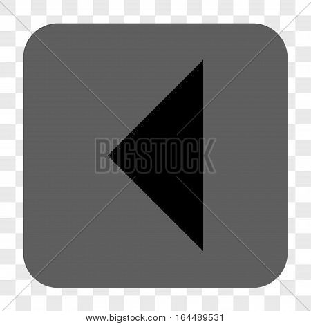 Arrowhead Left interface toolbar button. Vector icon style is a flat symbol inside a rounded square button black and gray colors chess transparent background.