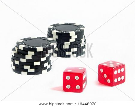 Dice and betting chips isolated on white background