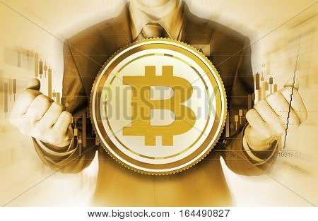 Bitcoin Currency Trader Conceptual Illustration. Golden Color Grading. The Power of Bitcoin