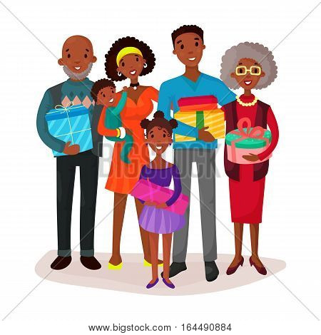 Afro american family with gifts and presents. Couple celebration with father and mother, beard grandfather and grandmother, kids or children, cake with candle. Parenting and festive, holiday theme