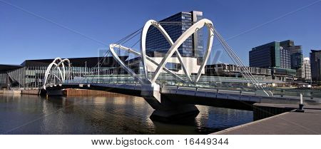 Modern Footbridge over the Yarra River at Melbourne's Convention and Exhibition Centre
