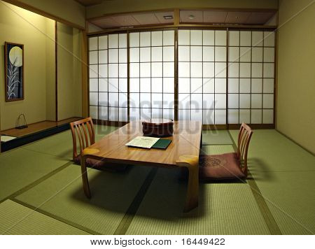 A traditional Japanese room with fresh green tatami mat