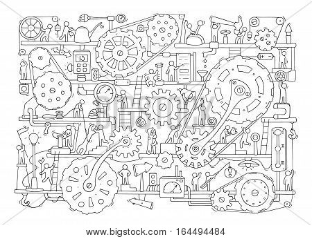 Sketch of people teamwork gears production. Doodle cartoon mechanism with machinery and cogwheels. Hand drawn vector illustration for business and industry design isolated on white.