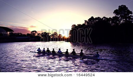 Rowers at Sunset on Adelaide's Torrens River