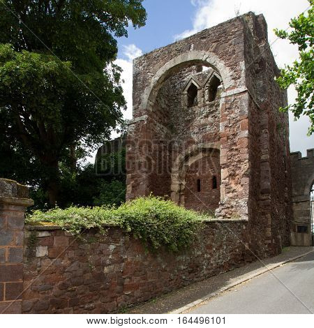 EXETER DEVON UK 11.07.2016: gatehouse was built by William the Conqueror. Part of the Norman Castle of Rougemont
