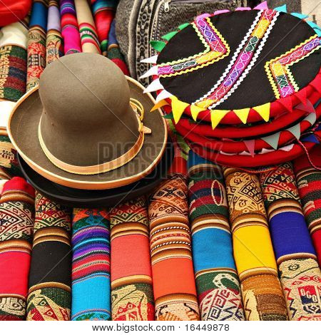 Hats and Colorful Fabric at market in Peru