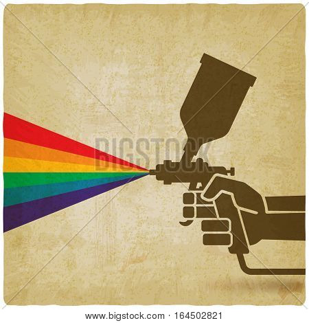 hand with spray gun old background. vector illustration - eps 10