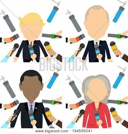 January. Russia 09.2017 News reporters with microphones. Giving interview. Donald Trump, Barack Obama, Hillary Clinton Vladimir Putin