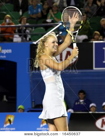 MELBOURNE, AUSTRALIA - JANUARY 23: Caroline Wozniacki of Denmark during her third round match against Shahar Peer Israel in the Australian Open on January 23, 2010 in Melbourne, Australia