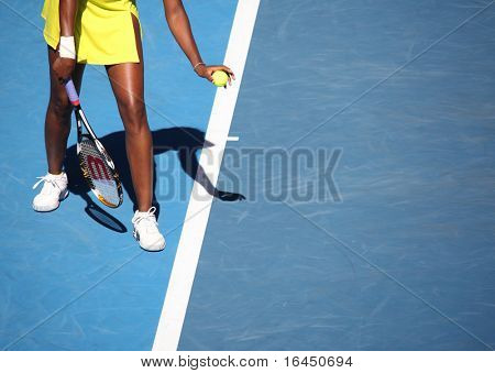 MELBOURNE, AUSTRALIA - JANUARY 23: Venus Williams during her third round match against Casey Dellacqua during the 2010 Australian Open on January 23, 2010 in Melbourne, Australia
