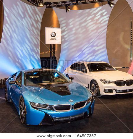 DETROIT MI/USA - JANUARY 8 2017: A BMW i8 car at The Gallery, an event sponsored by the North American International Auto Show (NAIAS) and the MGM Grand Detroit.
