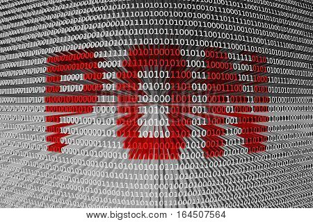 PON in the form of binary code, 3D illustration
