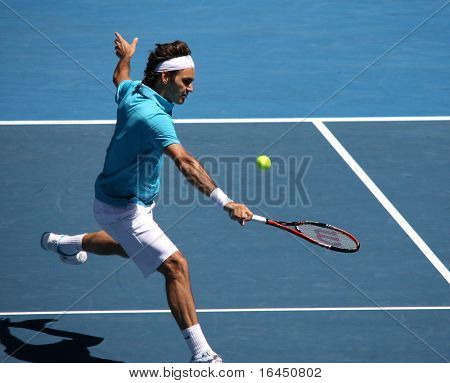 MELBOURNE, AUSTRALIA - JANUARY 23: Roger Federer of Switzerland in his third round match against Albert Montanes of Spain during the 2010 Australian Open on January 23, 2010 in Melbourne, Australia
