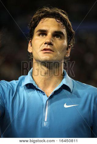 MELBOURNE, Australien - Januar: Roger Federer nach seinem Sieg über Lleyton Hewitt während der 2010