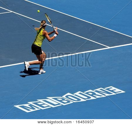 MELBOURNE, AUSTRALIA - JANUARY 26: Maria Kirilenko in her quarter final loss to Jie Zheng during the 2010 Australian Open on January 26, 2010 in Melbourne, Australia