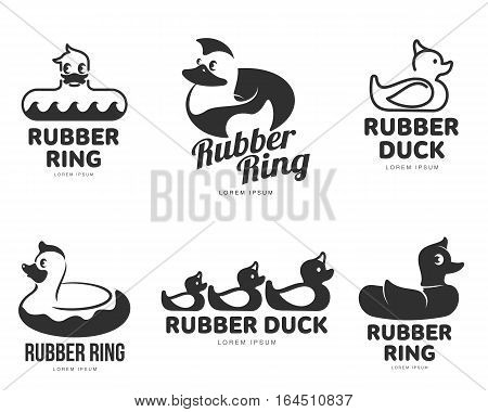 Set of logo templates with rubber duck, vector illustration isolated on white background. Line and silhouette graphic rubber duck logotype, logo design