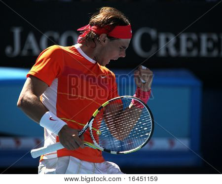 MELBOURNE, AUSTRALIA - JANUARY 26: Rafael Nadal in his quarter final loss to Andy Murray during the 2010 Australian Open on January 26, 2010 in Melbourne, Australia